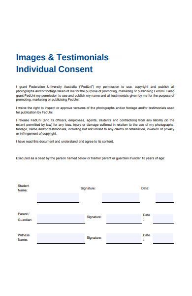 testimonial individual consent form