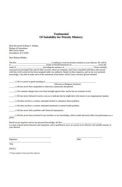 testimonial suitability form