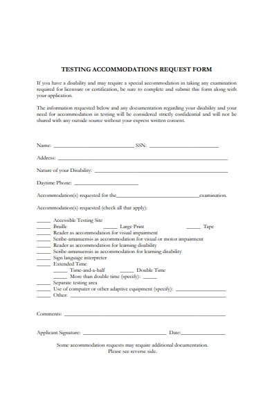 testing accommodation request form