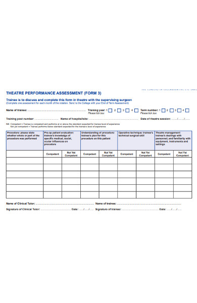 theatre performance assessment form