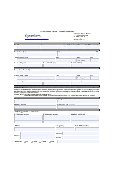 therapy authorization form
