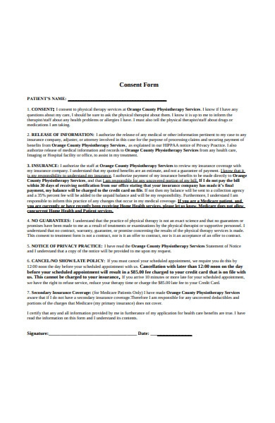 therapy consent form