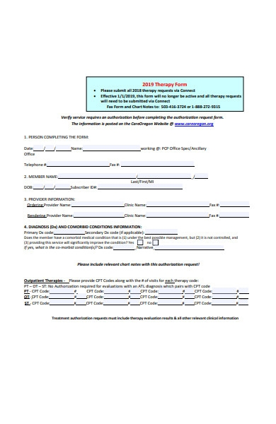 therapy form template