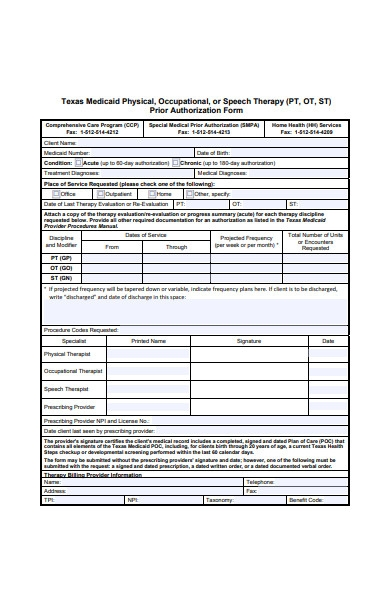 therapy prior authorization form
