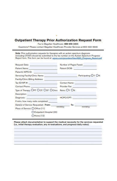 therapy prior authorization request form