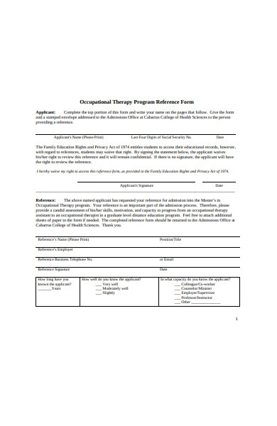 therapy program reference form
