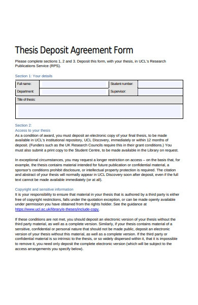 thesis deposit agreement form