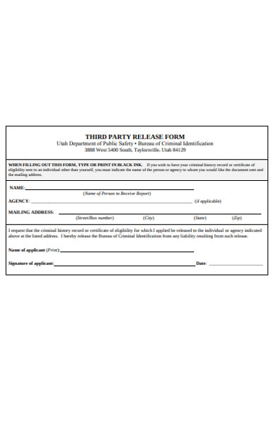 third party release form