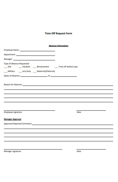 time off request absence form