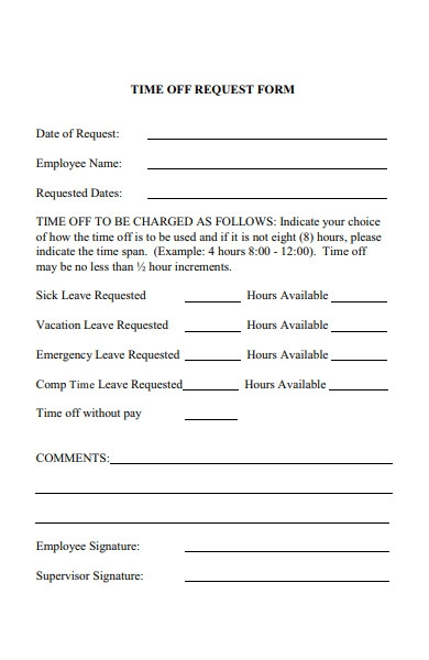 time off request charged form