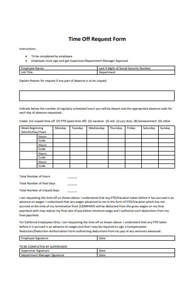 time off request department approval form