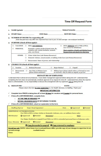 time off request purpose form