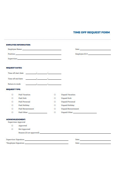 time off request type form