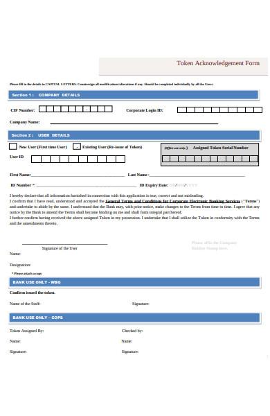 token acknowledgement form