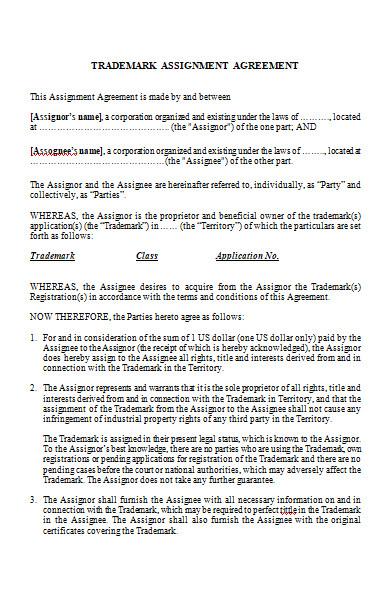 trademark assignment agreement form