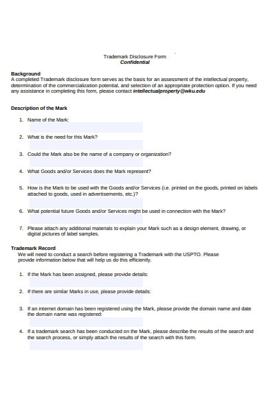 trademark disclosure forms