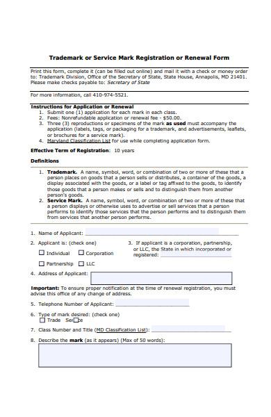 trademark renewal forms