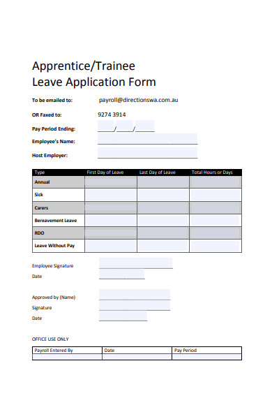 trainee leave application form
