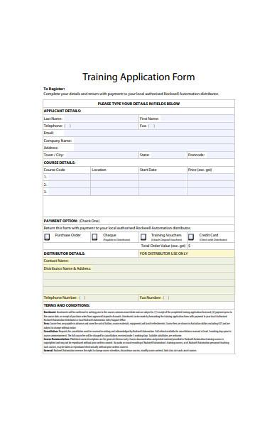 training application form