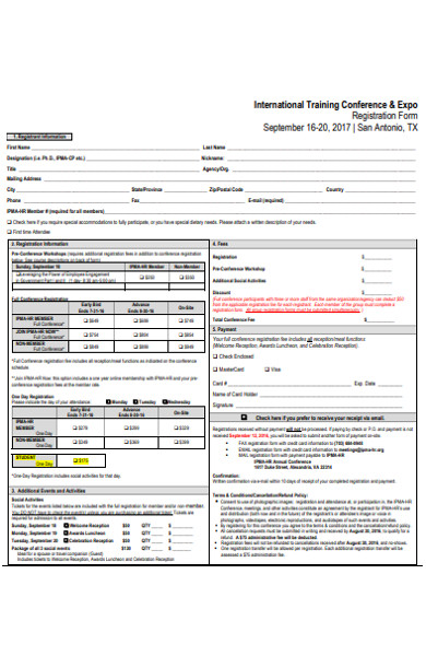training conference registration form