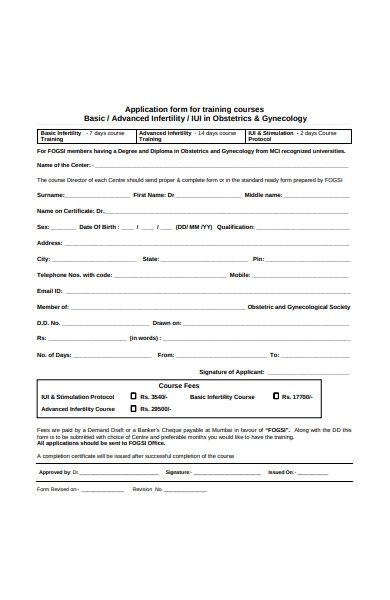 training course application form