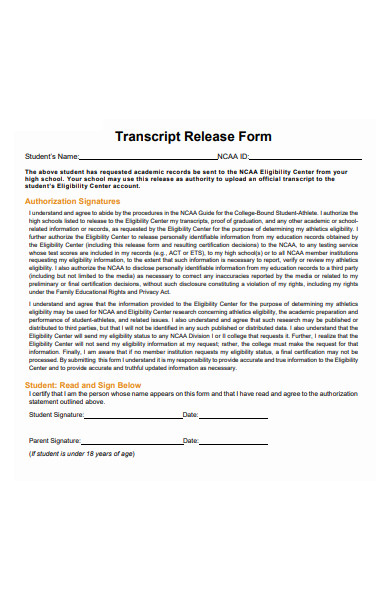 transcript release form