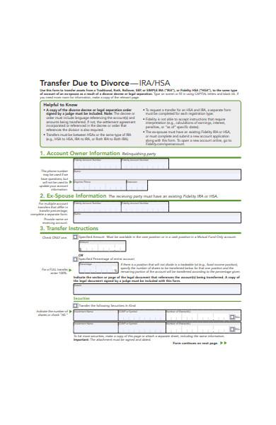 transfer form due to divorce