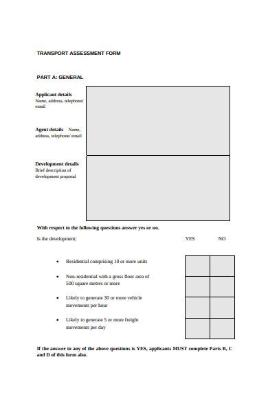 transport assessment form