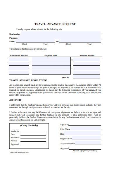 travel advance request form