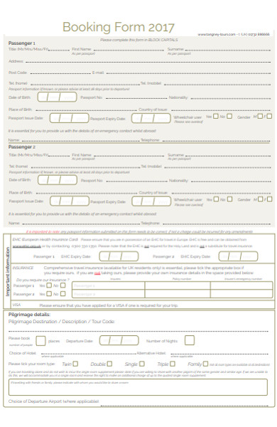 travel agency booking form