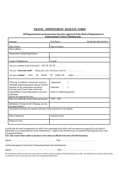 travel appointment request form