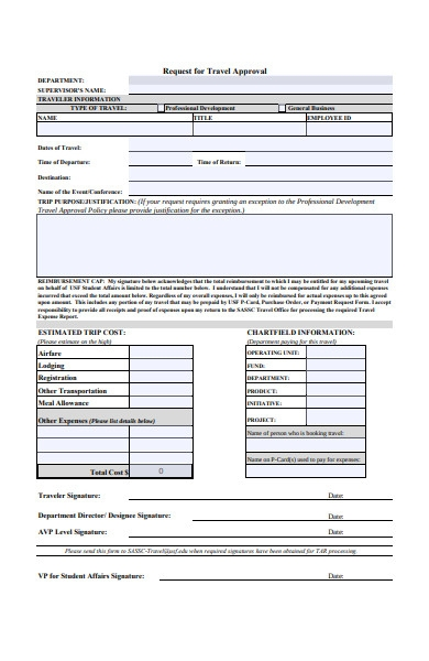 travel approval form