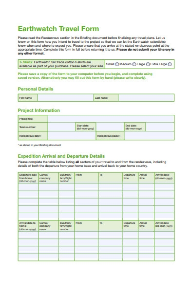 travel arrival form