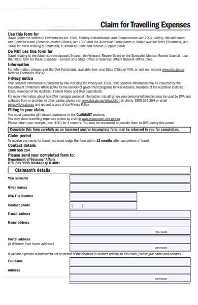travel claim form