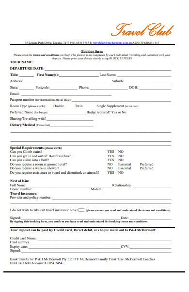 travel club booking form