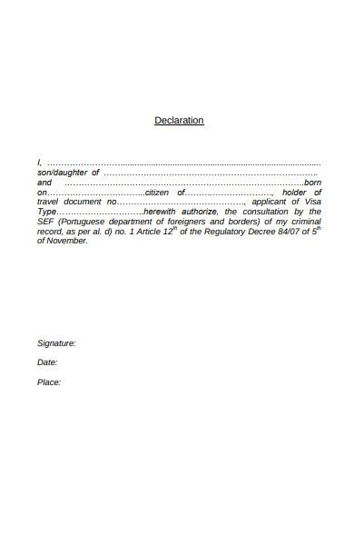 travel declaration form