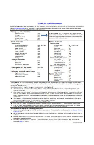 travel expense reimbursement claim form