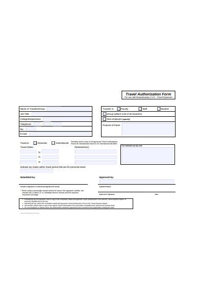 travel form sample