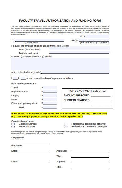 travel funding form