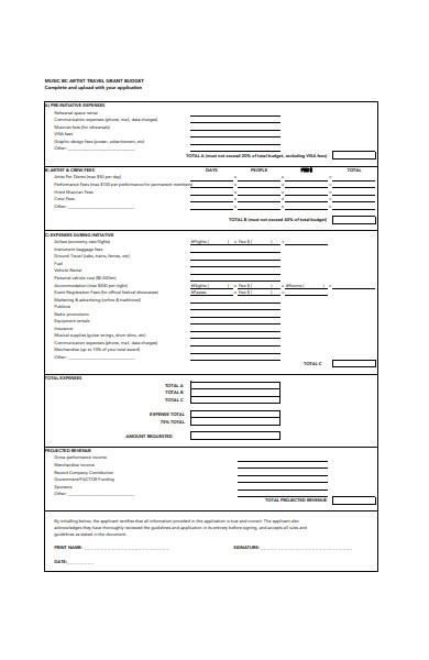 travel grant budget form