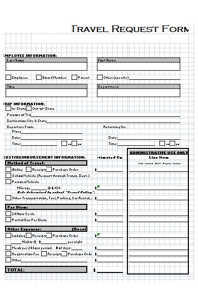 travel information request form