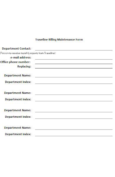 travel maintenance form
