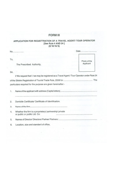 travel operator form