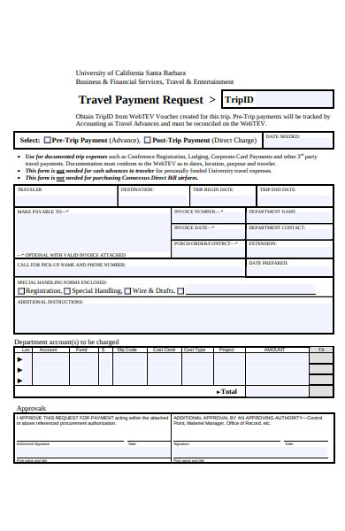 travel payment request form