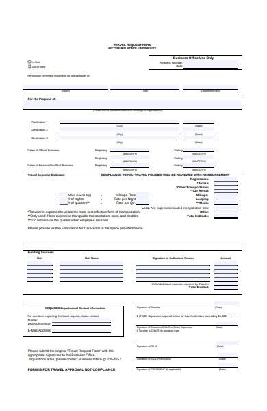 travel permission form