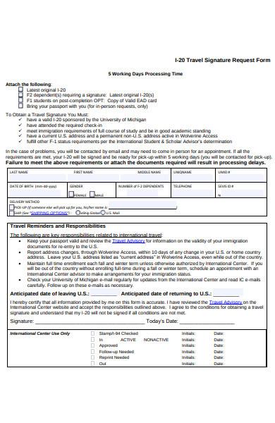 travel signature request form