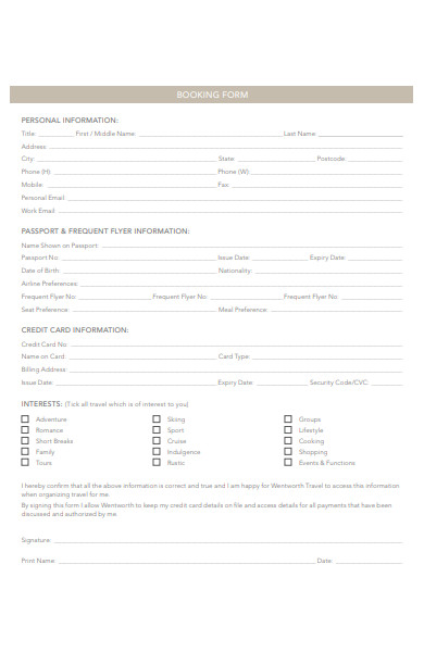 travel tour booking form