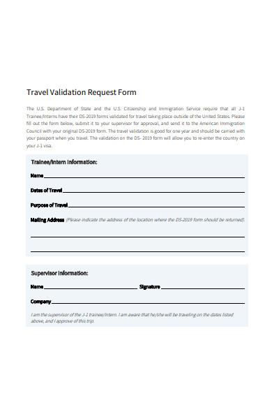 travel validation request form