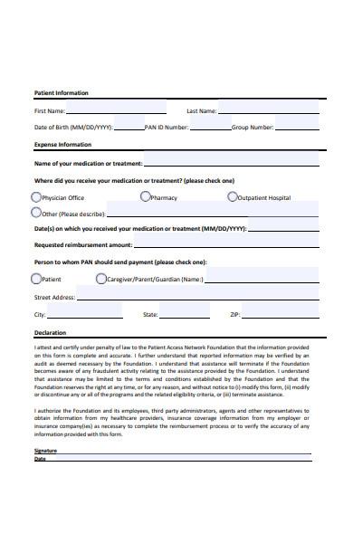 treatment reimbursement form