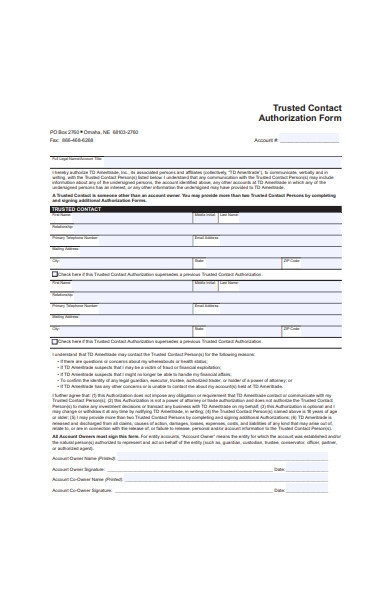 trusted contact authorization form sample